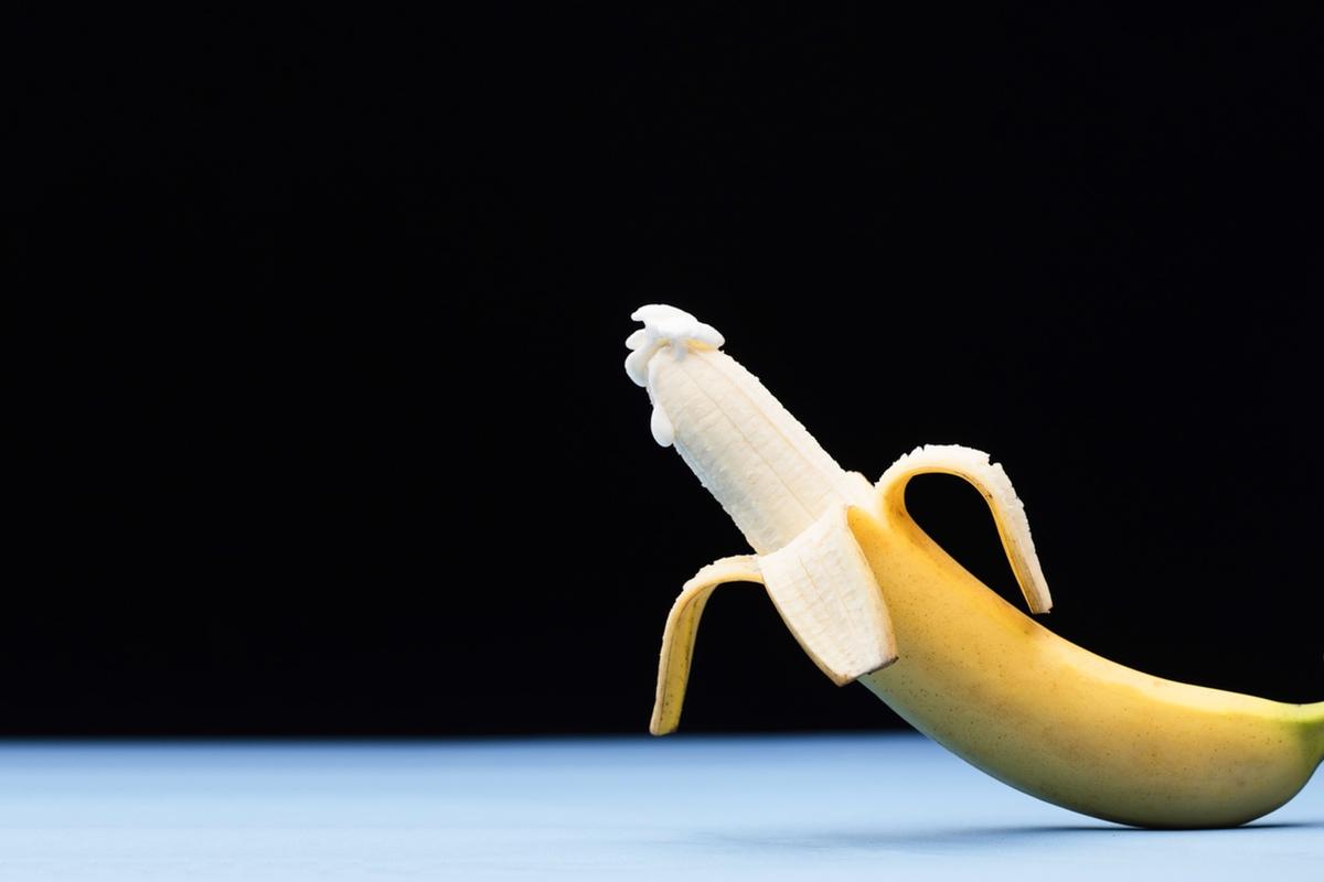 Banana masturbation semen