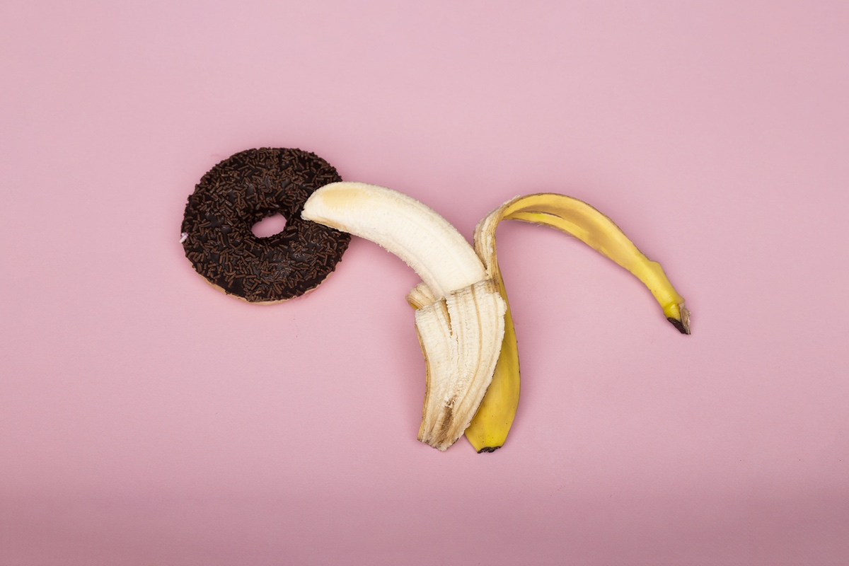 banana inside donut