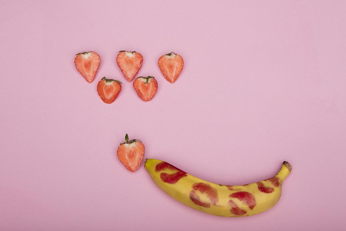 banana kissed strawberries
