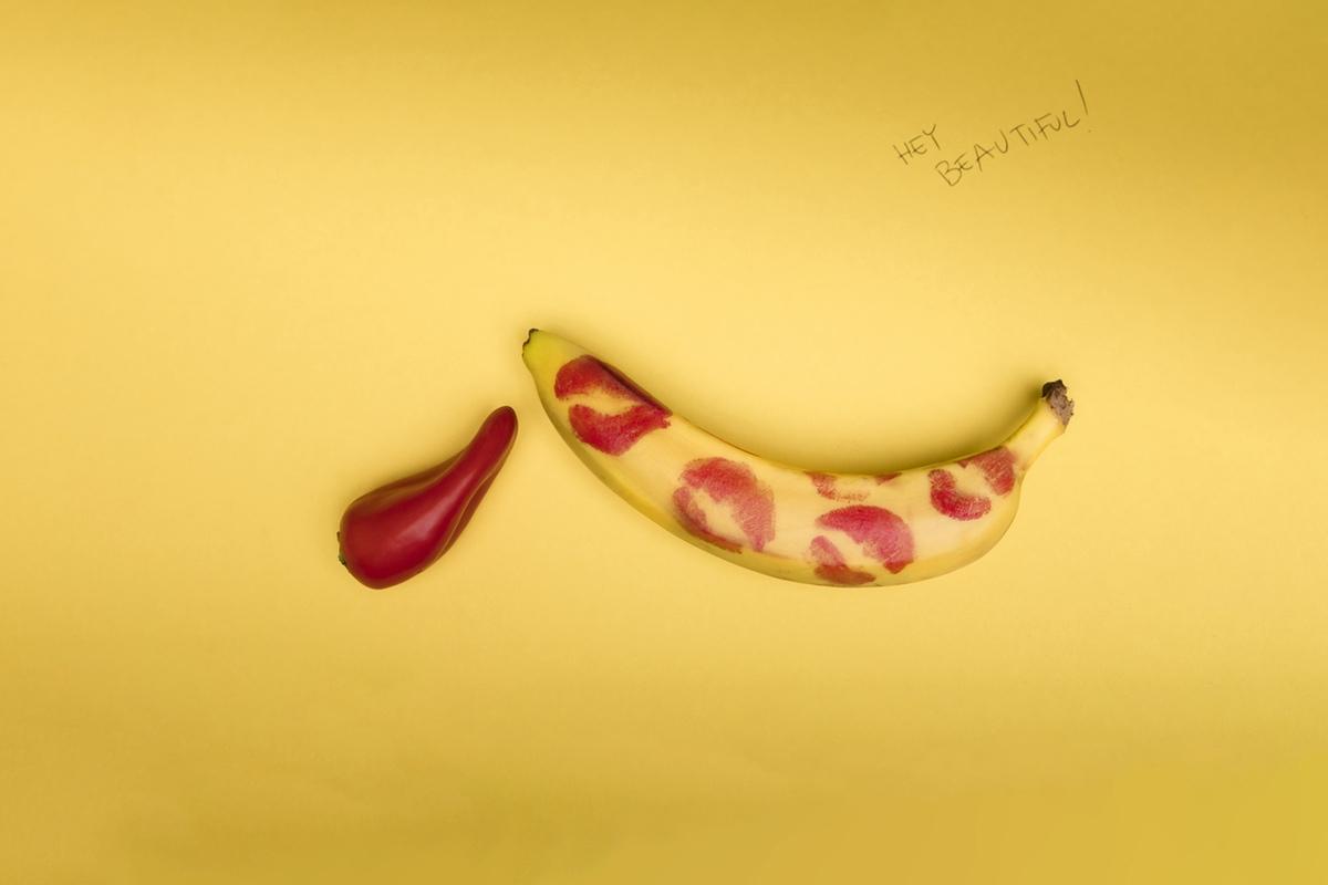 banana lipstick kissed