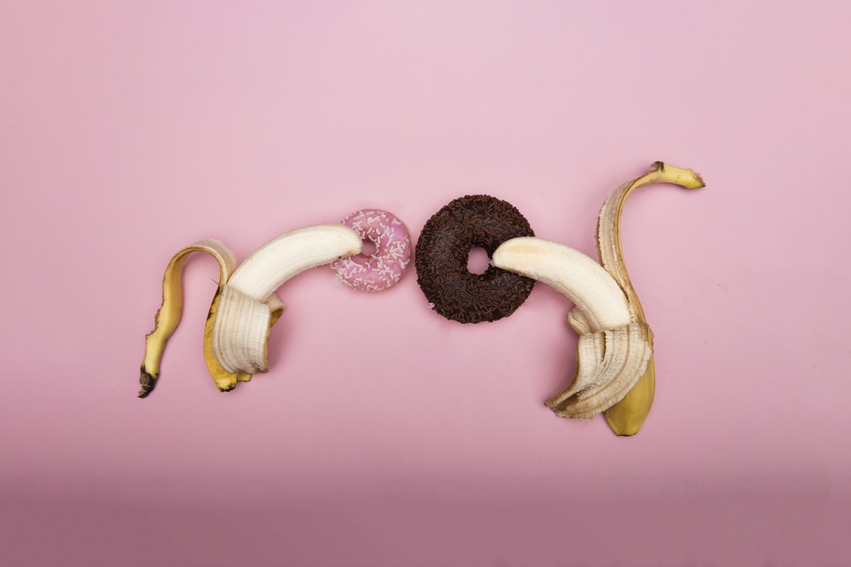bananas inside donuts