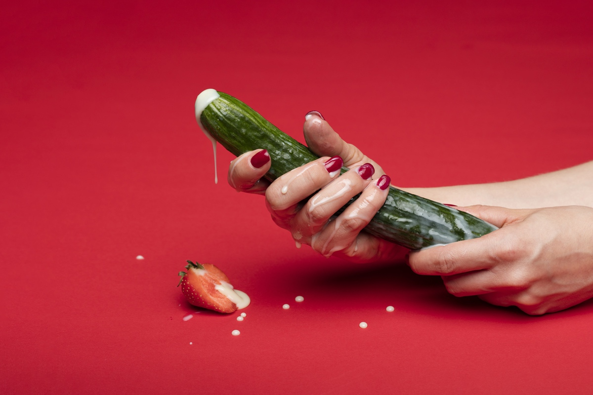cucumber strawberry resembling erotic sexy photo