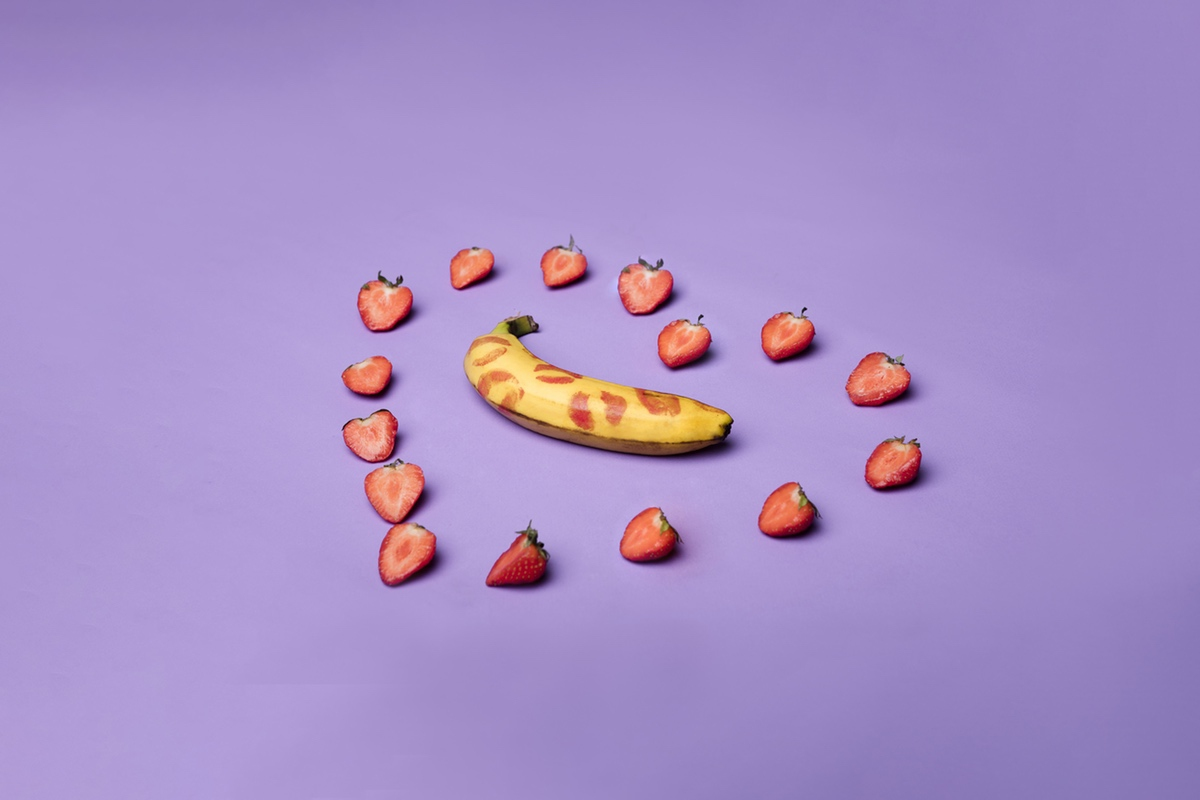 strawberries loving kissed banana