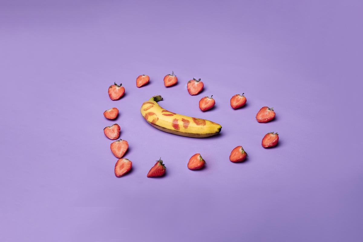 strawberries loving kissed banana